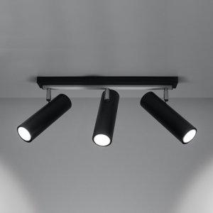 SOLLUX Stropné svietidlo Spoty, čierne, troj-plameňové