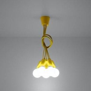 SOLLUX Závesná lampa Brasil, žltá, pät-plameňová