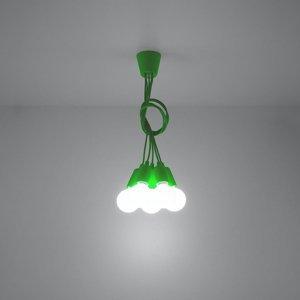 SOLLUX Závesná lampa Brasil, zelená, päť-plameňová