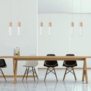 SOLLUX Závesná lampa Tube, drevo, biela, dvoj-plameňová
