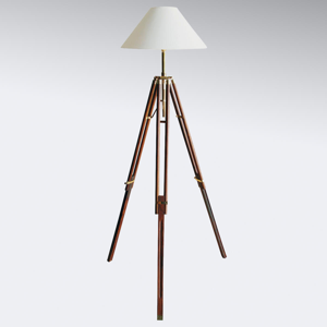 SEA-Club Trojnohá stojaca lampa Stativ s bielym tienidlom