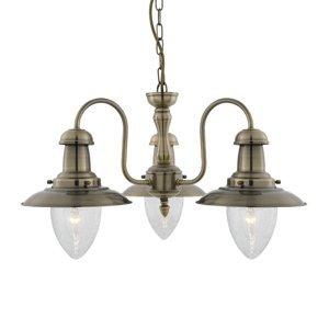 Searchlight Závesná lampa Fisherman, 3-pl., starožitná mosadz