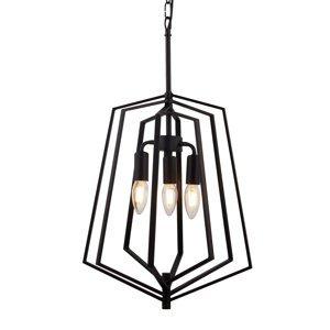 Searchlight Závesná lampa Slinky, 3-plameňová, čierna, Ø 35cm