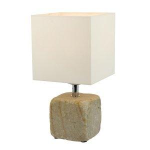 Spot-Light Stolná lampa Sandy z pieskovca, textilné tienidlo