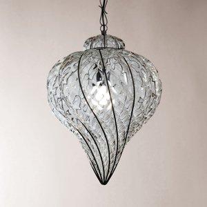 Siru Vonkajšia závesná lampa Goccia ručne fúkaná číra