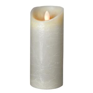 Sompex LED sviečka Shine, Ø 7,5 cm, sivá, V17,5 cm