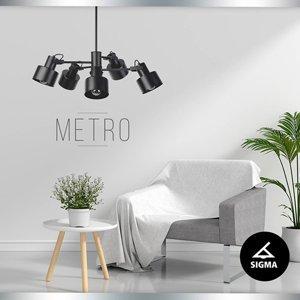 SIGMA Závesná lampa Metro, päť-plameňová, čierna