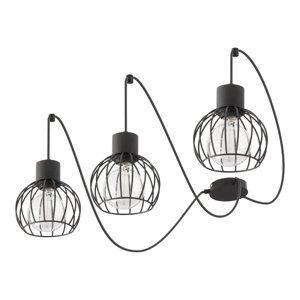 EULUNA Závesná lampa Luto 3 tri klietkové tienidlá čierna