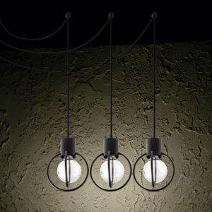 SIGMA Závesná lampa Aura 3, troj-plameňová, čierna