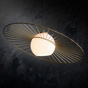 SIGMA Závesná lampa Sol 1, sklo so zlatým vencom