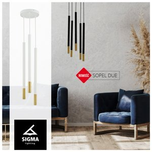 SIGMA Závesná lampa Sopel Due 5, čierna/zlatá, 5-pl.