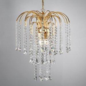 ONLI Závesná lampa Pioggia krištáľový dážď Ø35cm zlatá
