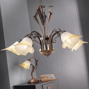 ONLI Stolná lampa Lucrezia bronz s kvetinovým tienidlom
