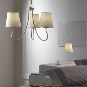 ONLI Stolná lampa Margot s bielym textilným tienidlom