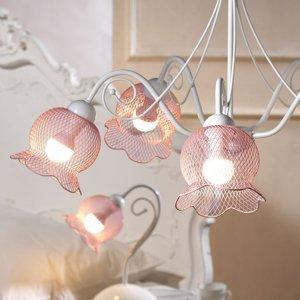 ONLI Závesná lampa Mia päť sieťových tienidiel ružová