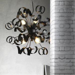 ONLI Závesná lampa Zoe, šesť-plameňová, čierna