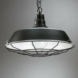 EULUNA Závesná lampa Grill z kovu s mriežkou, čierna