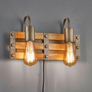 Trio Lighting Nástenné svetlo Khan vintage kábel zástrčka 2-pl.