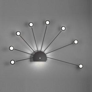 Trio Lighting Nástenné LED svietidlo Peacock, 9-plameňové čierne