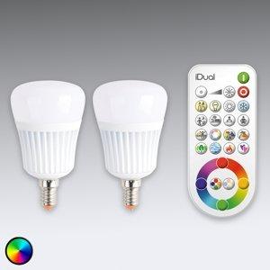 iDual iDual E14 LED žiarovka 2ks s diaľkovým ovládaním