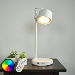 iDual Lesklá biela LED-iDual stolná lampa Jasmine
