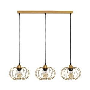 TEMAR LIGHTING Závesná lampa Kula, 3-plameňová, zlatá