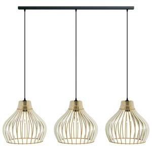 EULUNA Závesná lampa Barrel drevené tienidlá, 3-pl. dlhá