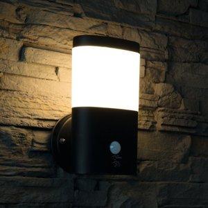 Heitronic Vonkajšie nástenné LED Camella oceľ, so snímačom