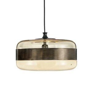 Vistosi Sklená závesná lampa Futura v bronze, 40cm