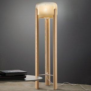 Vistosi Stojaca lampa Sata tienidlo jantár podstavec drevo