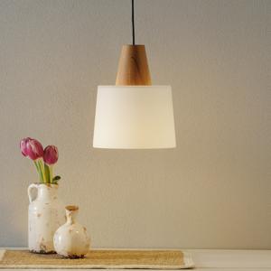 Viokef Malá závesná lampa Eduardo s dreveným prvkom kužeľ