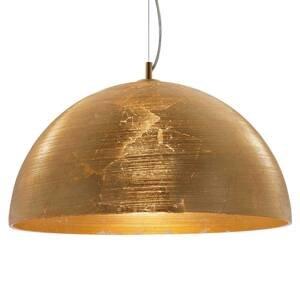 Viokef Zlatá závesná lampa Dome so skleneným tienidlom