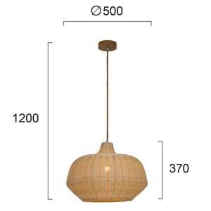 Viokef Závesná lampa Malibu z ratanu, výška 37cm, béžová