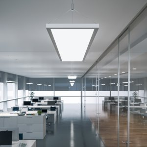 WALDMANN Závesné LED IDOO do kancelárie 49W, striebro