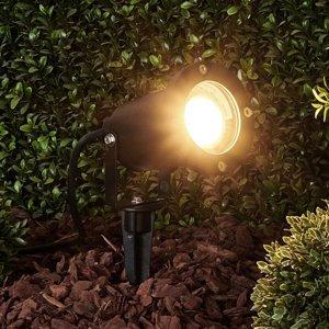 Lindby Čierne exteriérové bodové svetlo Tessa s hrotom