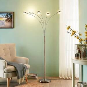 Lucande 5-plameňová stojaca LED lampa Catriona stmievač