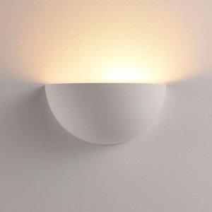Lindby Polkruhové nástenné LED svetlo Narin sadra biele