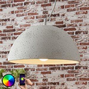Lindby Lindby Smart betón, závesná lampa Carolle, LED RGB