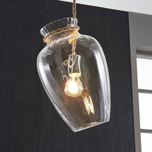 Lampenwelt.com Sklená závesná lampa Bryce v tvare vázy