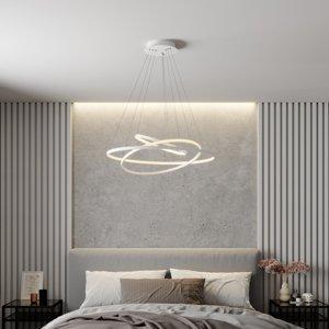 Lucande LED závesná lampa Ezana s tromi kruhmi, biela