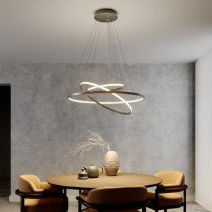 Lucande LED závesná lampa Ezana s tromi krúžkami, niklová