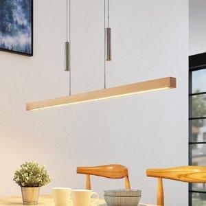 Lucande Závesná LED lampa s trámom Pia, drevo buk