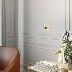 Lucande LED závesná lampa Hayley, sklená, 1 svetlo, zlatá