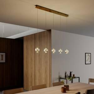 Lucande Závesná lampa LED Hayley, 5 svetiel, dlhá, zlatá
