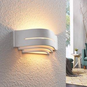 Lindby Sadrová nástenná lampa Amran, biela/3 stupne/pásik