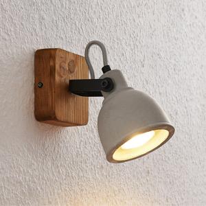 Lindby Lindby Mirka stropné LED svietidlo, drevo a betón