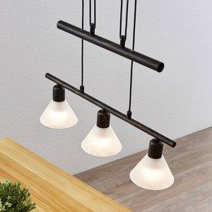 Lindby Nastaviteľná závesná lampa Delira 3 svetlá, čierna