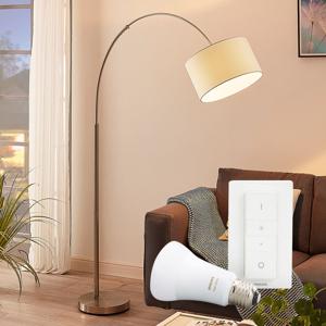 Lampenwelt.com Stojaca lampa Railyn s Philips Hue E27, stmievač