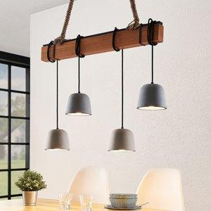 Lucande Lucande Hakona drevená závesná lampa