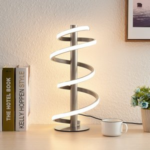 Lucande Lucande Milora LED stolná lampa, nikel satinovaný